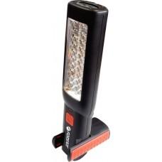 Лампа переносная светодиодная аккумуляторная с двумя магнитами + два крючка (поворотная180гр., боковой свет 30LED, торцевой свет 7 LED, 3.7V, 1800 F-08505