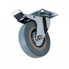 Колесо аппаратное болтовое крепление поворотное (серая резина) c тормозом SCTGb 93 (ф 75)