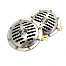 Сигнал звуковой HN-110 CHROME электрический 120мм 320/430Hz 115dB (2шт) 12V FK-PREMIER HN-110