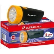 фонарь ручной LED3827 (акк. 4V 0.7Ah) 5св/д, черный+желт./пластик, вилка 220V Ultraflash