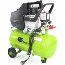 Компрессор воздушный КК-1500/24, 1,5 кВт, 198 л/мин, 24 л, прямой привод, масляный// СИБРТЕХ 58037