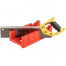 """Набор STAYER: пластмассовое + ножовка с 2-комп рукояткой, усиленный обушок, стусло MAXI 4"""" (для заготовок 100ммх52мм) в комплекте с ножовкой 15395-35"""