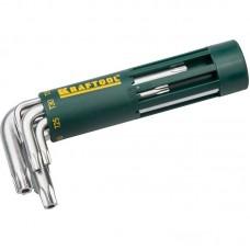 Набор KRAFTOOL: Ключи имбусовые короткие, Cr-Mo сталь, держатель-рукоятка, TORX Hole, T10-T50, 8 пред 27433-1_z01