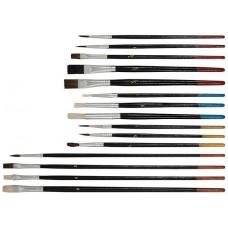 Кисти художественные, натуральная щетина, деревянная ручка, плоские и круглые, набор 15 шт. 01535