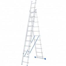 Лестница 3 х 11 ступеней, алюминиевая, трехсекционная // СИБРТЕХ // 97821
