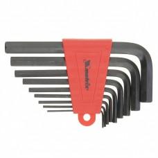 Набор ключей имбусовых HEX, 2,0–12 мм, CrV, 9 шт., короткие, оксидированные// Matrix 11222