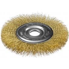 """ЗУБР """"ПРОФЕССИОНАЛ"""". Щетка дисковая для УШМ, витая стальная латунированная проволока 0,3мм, 150х22мм 35187-150_z01"""