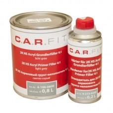 2К Акриловый грунт-наполнитель 4:1 серый (0,8+0,2кг) комплект, CarFit 4-106-1000
