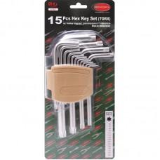 Набор ключей TORX Г-образных, 15пр.(Т6, T7, T8, T9, Т10, Т15, Т20, Т25, Т27, Т30, Т40, Т45, Т50, Т55, Т60)в пластиковом держателе 26052 F-5151
