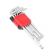 Набор ключей Г-образных 6-гранных длинных с шаром, 11пр.(1.5, 2, 2.5, 3, 4, 5, 6, 7, 8, 10, 12мм)в пластиковом держателе 25507 F-5116LB