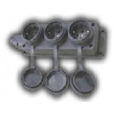 Колодка Lezard колодка ОУ тройная с загл. каучук 2P+E 1x16 220-240V IP44 106-0400-101  382854