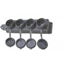 Колодка Lezard колодка ОУ четверная с загл. каучук 2P+E 1x16 220-240V IP44 106-0400-107  382924