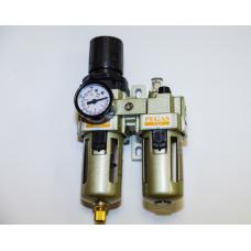 Влагоотделитель  AC3010-02 двойной с регулятором 1/4 Pegas 4703