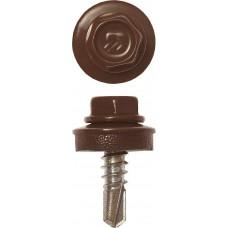 Саморез кровельный 5,5*19 RAL 8017 шоколадно-коричневый 500шт, для металлических конструкций,  Профессионал Зубр 4-300315-55-019-8017