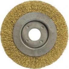 Корщетка -колесо, посадочный диаметр 22,2 мм, стальная латунированная волнистая проволока 150 мм FIT 39066