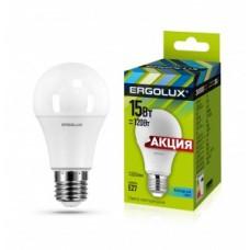 Промо Ergolux ПРОМО ЛОН A60 E27 15W(1220lm 270гр.) 4500K 4K матовая 112x60 пластик/алюм. LED-A60-15W-E27-4K  702776