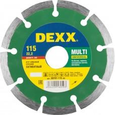 Диск MULTI UNIVERSAL 115 мм, диск алмазный отрезной сегментный по бетону, кирпичу, камню, DEXX 36701-115_z01