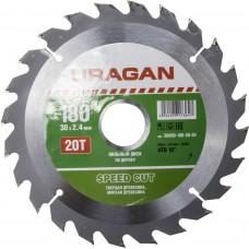 Диск  Speed cut 180х30мм 20Т, диск пильный по дереву Uragan 36800-180-30-20