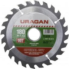 Диск  Optimal cut 180х30мм 30Т, диск пильный по дереву Uragan 36801-180-30-30