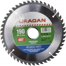 Диск  Clean cut 190х30мм 48Т, диск пильный по дереву Uragan 36802-190-30-48
