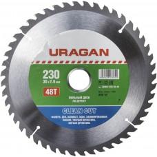 Диск  Clean cut 230х30мм 48Т, диск пильный по дереву Uragan 36802-230-30-48