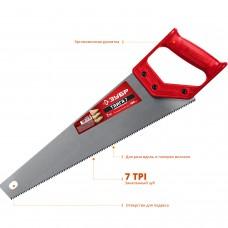 Ножовка 400мм универсальная (пила) ТАЙГА-7 7TPI, закаленный зуб, рез вдоль и поперек волокон, для средних заготовок, фанеры, ДСП, МДФ, Зубр 15081-40