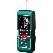 Дальномер LD-100 лазерный, дальность 5см - 100м, точность 1,5 мм, Kraftool 34765