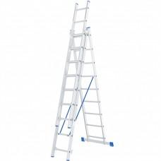 Лестница , 3 х 9 ступеней, алюминиевая, трехсекционная, Р// Сибртех 97819