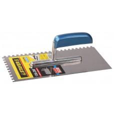 Гладилка  Profi 130х280 мм, 6х6 мм, гладилка штукатурная зубчатая нержавеющая с деревянной ручкой Stayer 0802-06