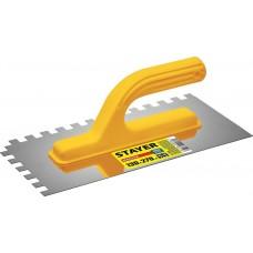 Гладилка  штукатурная Master 130х27 0мм, 10х10 мм,  зубчатая нержавеющая с пластиковой ручкой Stayer 08012-10