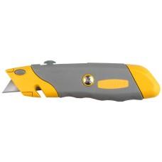 Нож  PROFI металлический корпус, с выдвижным трапециевидным лезвием, 5 запасных лезвий Stayer 09233