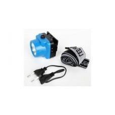 Фонарь  фонарь налобный LED5374 (акк.4V 0.35Ah) 1св/д 0.5W синий /пластик, отражат., з/у 220V Ultraflash 580397