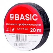 Изолента  Basic  ПВХ 19/20 черная, класс А (профессиональная) 0.18х19 мм, 20 м plc-iz-a-b EKF 458549
