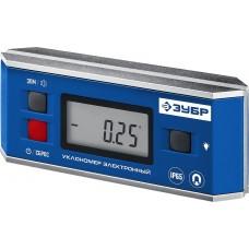 Уровень-уклономер электронный, IP65, Магнитный, Диапазон 0-90гр., Точность ±0,05гр., 3 кнопки, HOLD, Подсветка, Автоповорот,  Профессионал Зубр 34745_z01