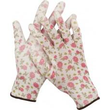 Перчатки  садовые, прозрачное PU покрытие, 13 класс вязки, бело-розовые, размер M Grinda 11291-M
