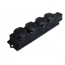 Колодка  колодка ОУ четверная 4 гн. с загл. каучук 2P+E 1x16 220-240V IP44 SBE-16-4-00-R SmartBuy 673525