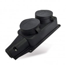 Колодка  колодка ОУ двойная 2 гн. с загл. каучук 2P+E 1x16A 220-240V IP44 1027 UNIVersal 563015