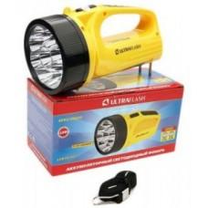 Фонарь  фонарь-прожектор LED3816SM (акк.4V 0.8Ah) 9св/д, желт./пластик,2 режима, вилка 220V Ultraflash 555571