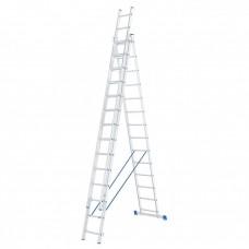 Лестница 3 х 14 ступеней, алюминиевая, трехсекционная // СИБРТЕХ // 97824