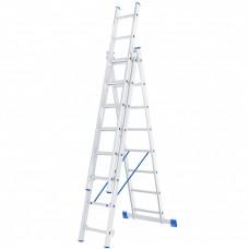 Лестница 3х секционная 8 ступеней, алюминиевая /Р3/ СИБРТЕХ 97818