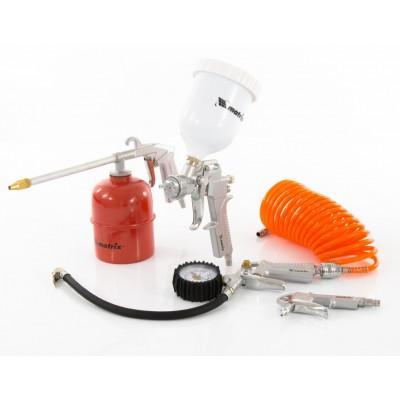 Набор пневмоинструмента 5 предметов, быстросъемное соед., краскорасп. с верхним бачком MATRIX 57304