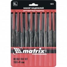 Набор надфилей 160 х 4мм, 10 шт., обрезиненные рукоятки // MATRIX 15818