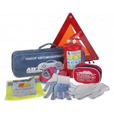 Набор автомобилиста H-1 АВТОТЕХОСМОТР (огнетушитель 2л, знак аварийной остановки, трос 3.5т, аптечка, перчатки) АВТОСТОП /1 H-1