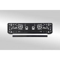Рамка для номерного знака AB-022B черная сталь (закругленная) /1 AB-022B