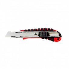 Нож 18 мм выдвижное лезвие металлическая направляющая эргоном. двухкомпонентная рукоятка//MATRIX 78938