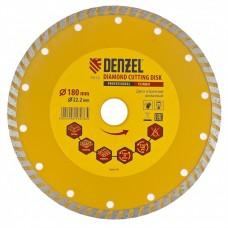 Диск алмазный отрезной 180 х 22,2 мм, Turbo сухая резка// DENZEL 73112