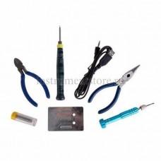 Набор для пайки (USB-паяльник 8Вт, кусачки, тонкогубцы, подставка, припой, отвертка) REXANT 12-0168